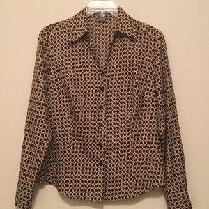 Ann Taylor geometric print long sleeve blouse top